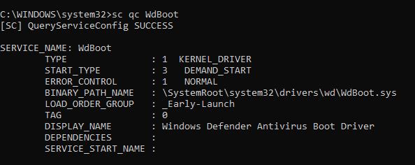 Windows Trusted Boot - Windows Defender default Windows 10 ELAM driver