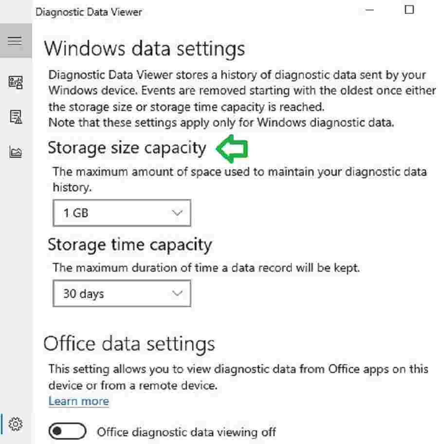 Diagnostic Data storage size -  Analyse Telemetry Data using Windows Diagnostic Data Viewer
