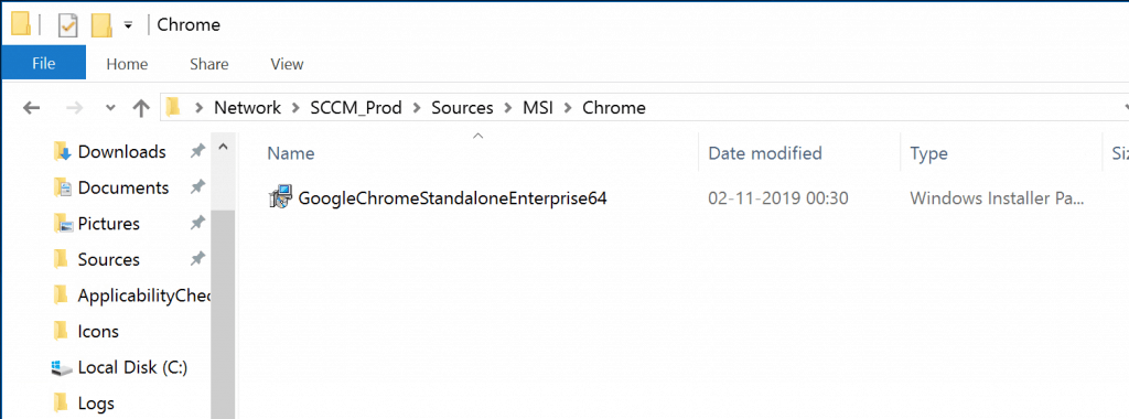 Deploy Google Chrome with SCCM - Package Source  GoogleChromeStandaloneEnterprise64.msi