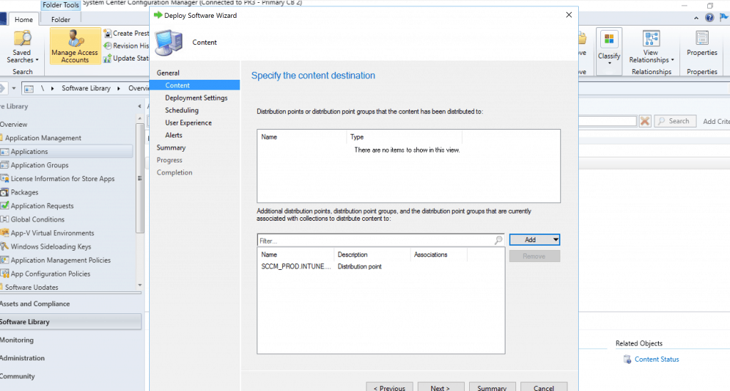 Deploy Google Chrome with SCCM - Add the DP - Specify the Content Distribution
