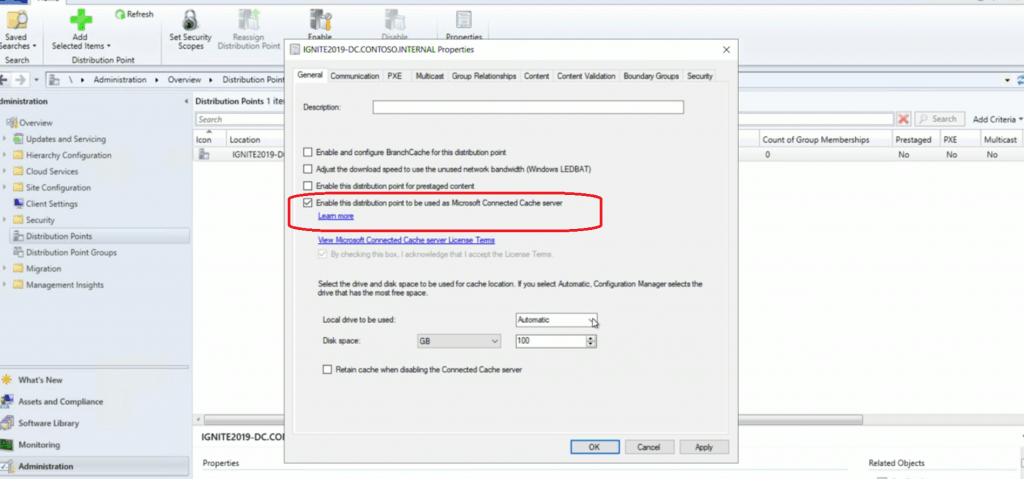 SCCM DP Configuration to take advantage of Microsoft Connected Cache Server