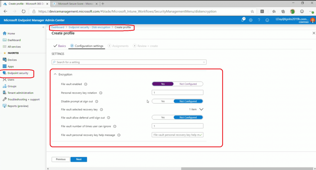 Encryption - Intune Endpoint Security Policies