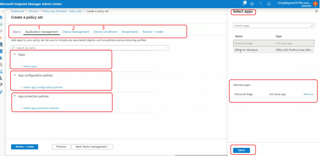 Select Intune Policy Set