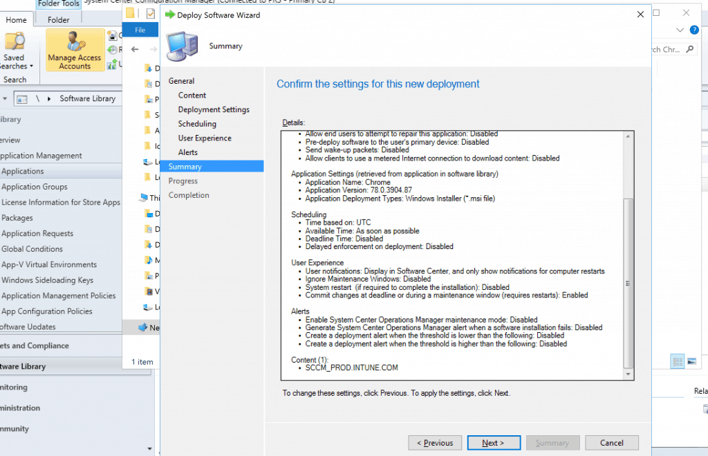 Deploy Google Chrome with SCCM - Confirm the settings for this new deployment