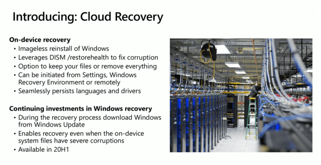 Windows 10 Cloud Recovery Options with 20H1 Updates 1