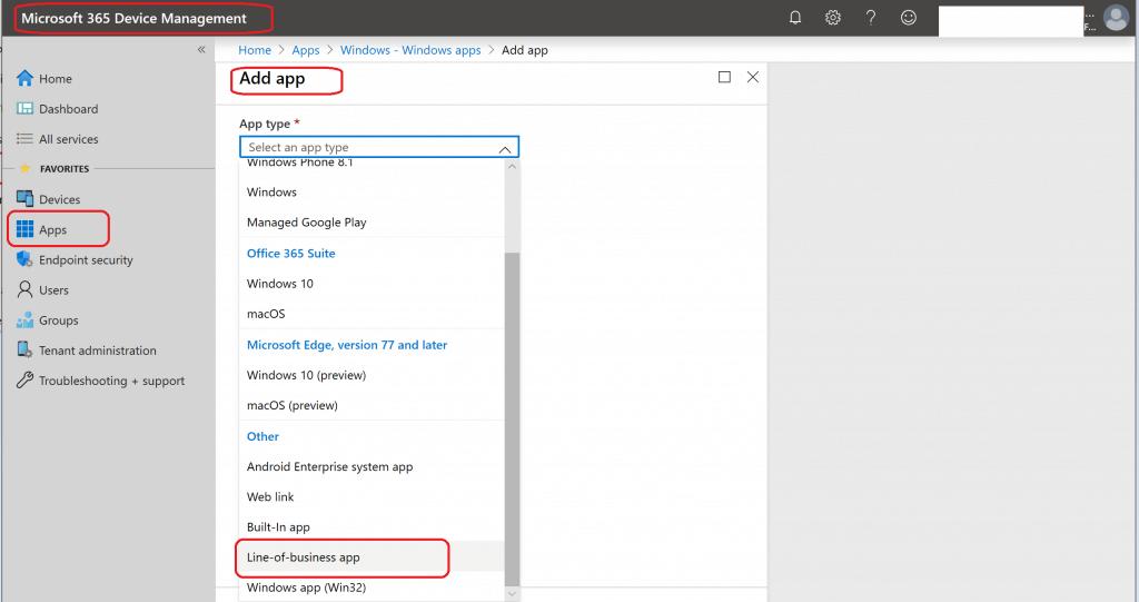 Add App - Create Intune Google Chrome Browser Application