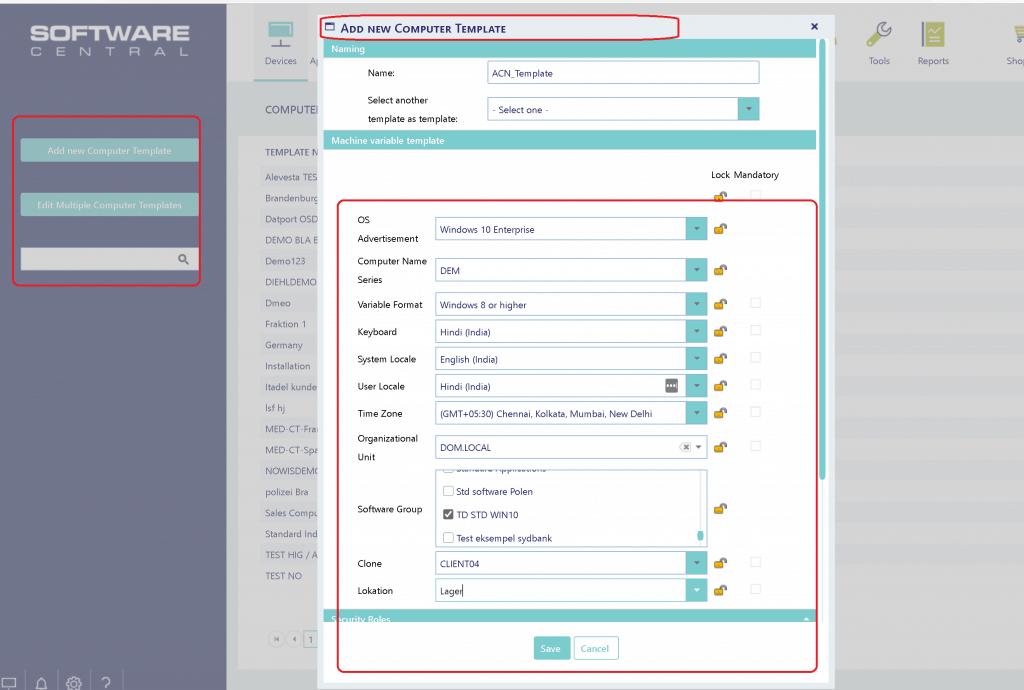 Computer Template - SoftwareCentral - SCCM Admin Web Console