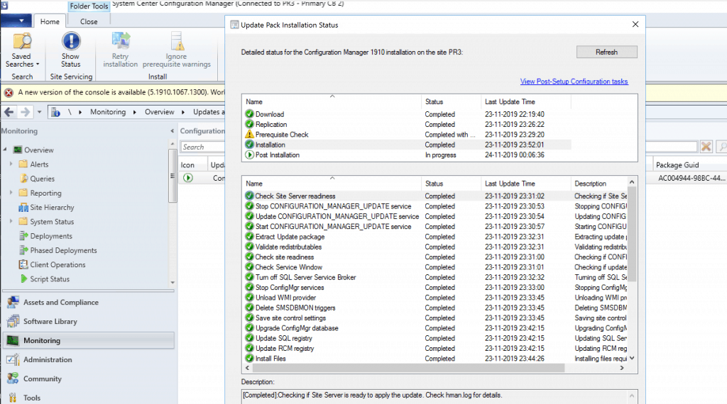 SCCM 1910 - Update Pack Installation Status