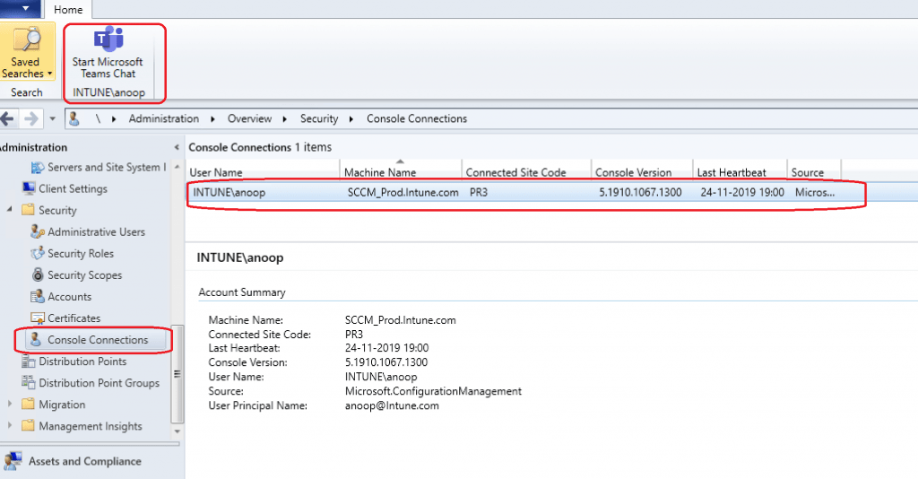 Teams Chat options - SCCM console Connections