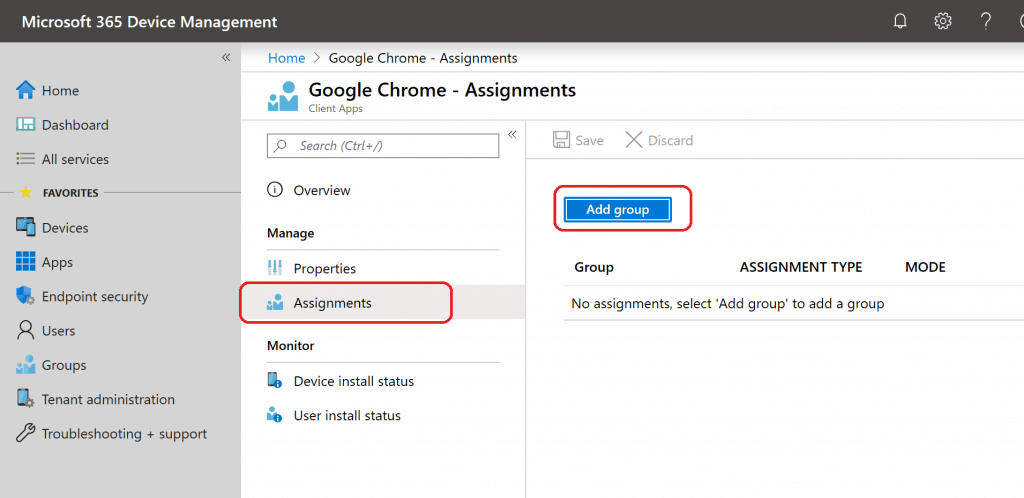 Assignment - Add Group - Google Chrome Browser