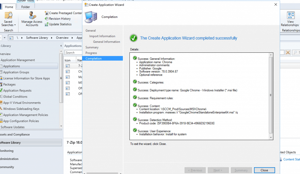 Deploy Google Chrome with SCCM - Create Application Wizard Completed Successfully