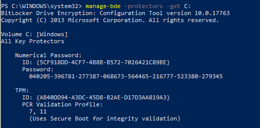 Bitlocker Key Protectors - manage-bde CMD tool
