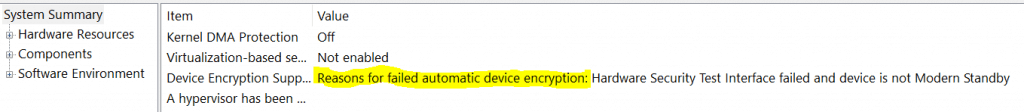 msinfo32 showing Device Encryption not supported reason