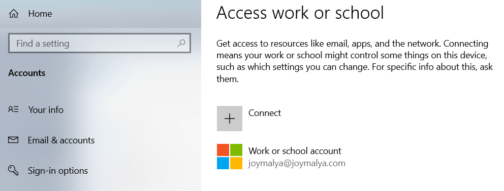 Settings > Accounts > Access work or school (To setup work account from local account) - Device Encryption