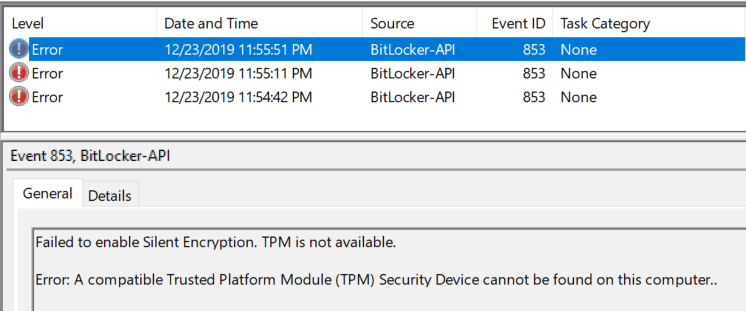 Bitlocker Drive Encryption - Silent Encryption failed for TPM