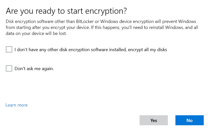 Windows Drive Encryption - User Aided Flow - Warning for 3rd party encryption