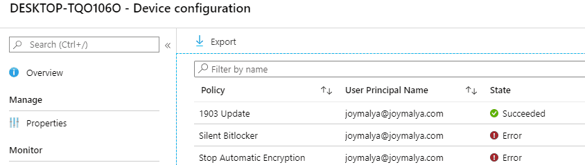 Bitlocker Drive Encryption - Portal shows error status for profile to stop Automatic Encryption during AADJ