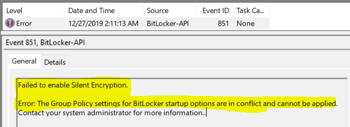 Bitlocker Drive Encryption - Event showing conflicting GPO for silent encryption failure