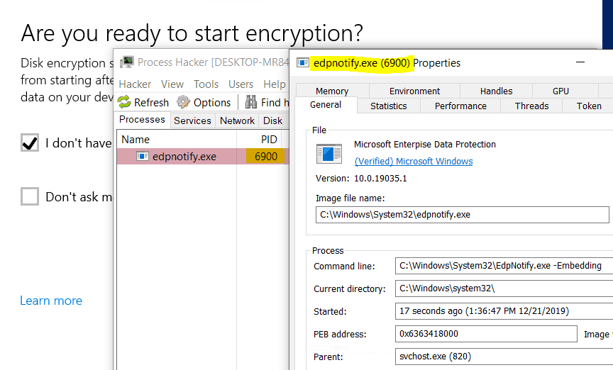 Bitlocker Drive Encryption - edpnotify.exe behind the Warning for 3rd party encryption