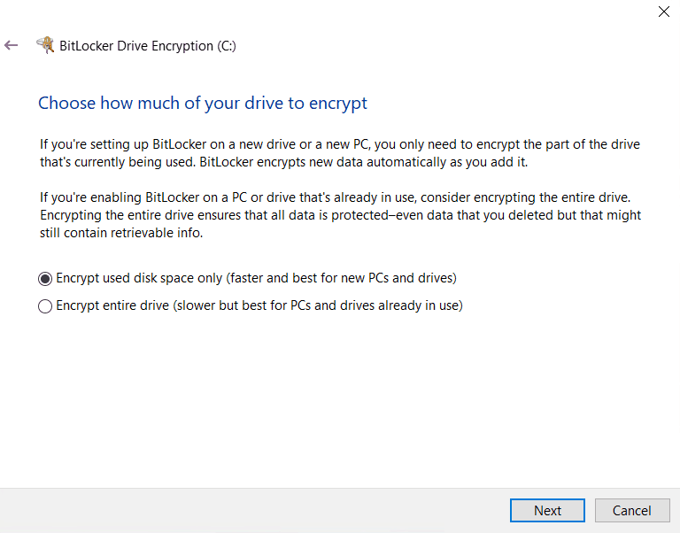 Bitlocker Drive Encryption - User Aided flow - Choose encyrption type - Full or Used Space only