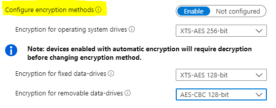 Bitlocker Drive Encryption Policy Settings - Choose Encyrption Methods