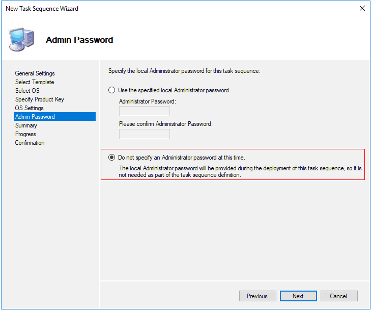 MDT Setting Admin Password