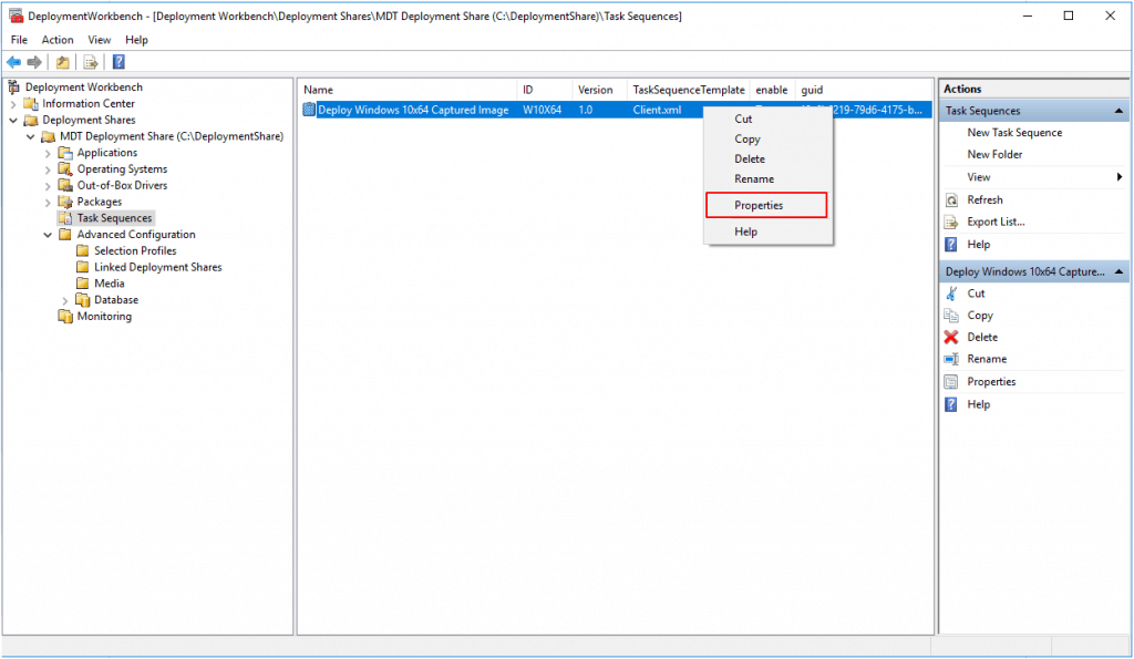 MDT Task Sequence Customize