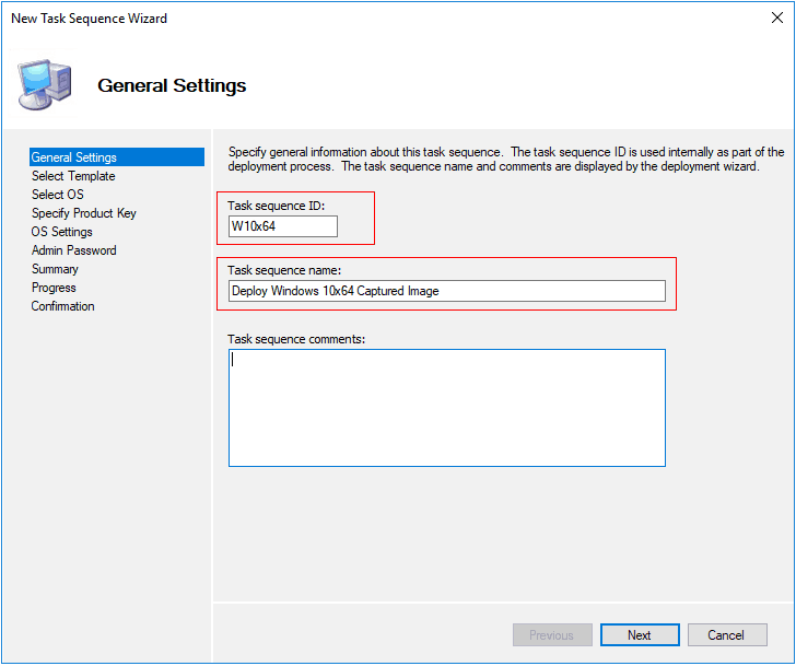 MDT Task Sequence General Settings - Deploy Windows 10 Image