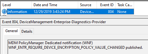 Intune triggeres Push to notify policy settings changed