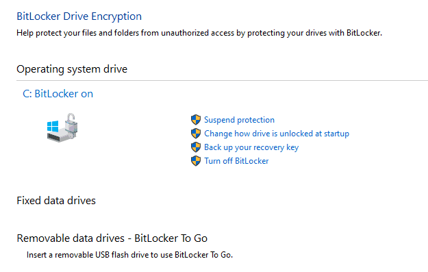 Bitlocker Drive Encryption - Bitlocker Management GUI tool to manage and modify settings