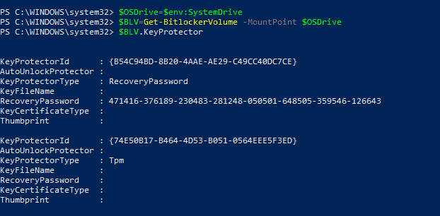 Bitlocker Drive Encryption - Using the Bitlocker PS module to retrieve Key Protector ID for System Drive - Output of sample code snippet