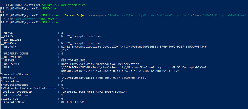 Bitlocker Drive Encryption - Sample script snippet to show how Win32_EncryptableVolume WMI class is used behind the scenes