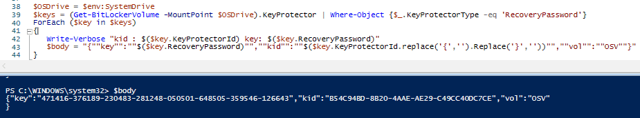 Bitlocker Drive Encryption - Output of sample script snippet as above - showing how Win32_EncryptableVolume WMI class methods are used for Bitlocker operations