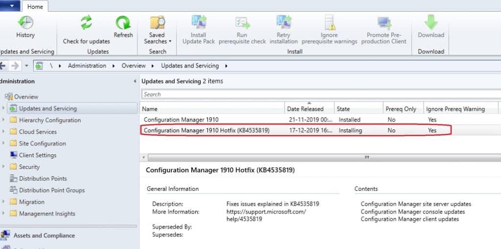 SCCM 1910.-  Configuration Manager KB4535819 | SCCM
