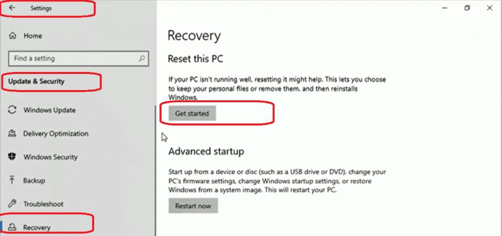 Windows 10 Recovery Option