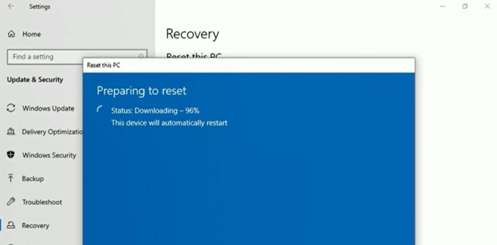 Preparing to reset - Windows 10 20H1