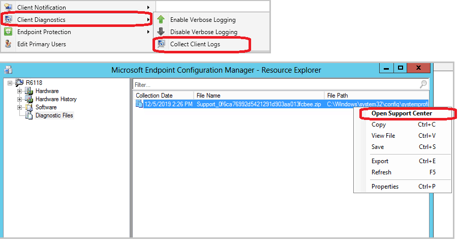 Open the client logs from Resource Explorer - Diagnostic Files - Open Support Center