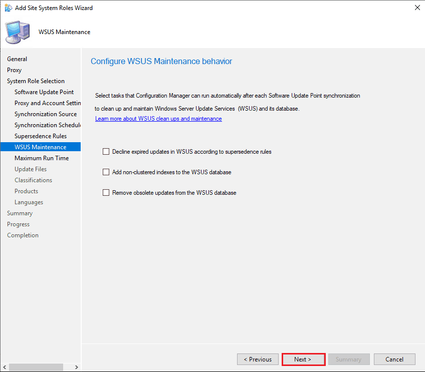 Configure WSUS Maintenance Behavior - New ConfigMgr Software Update Role