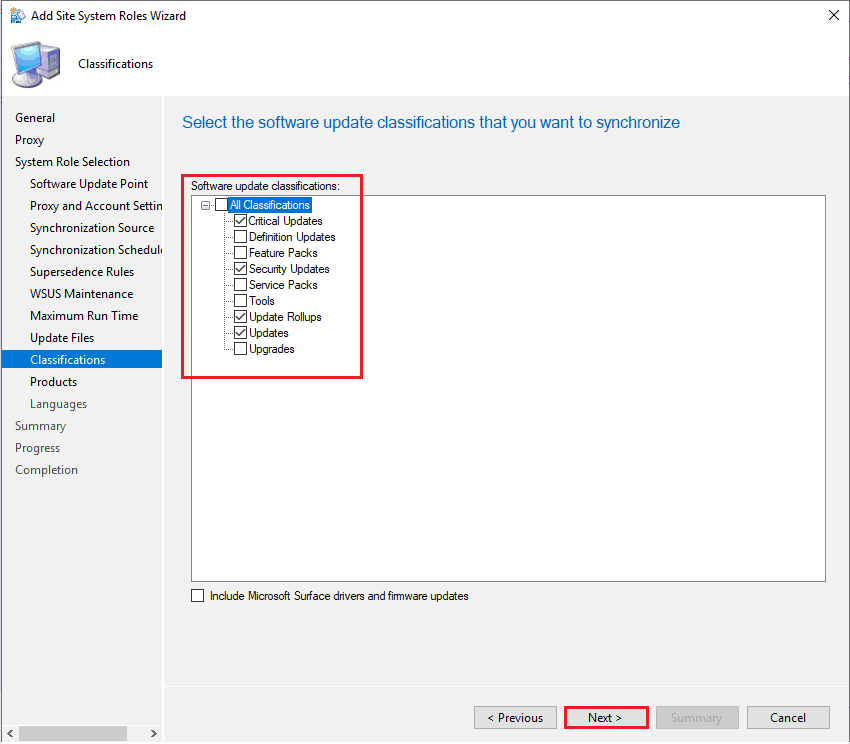 Select the Software update classification that you want to synchronize - New ConfigMgr Software Update Role