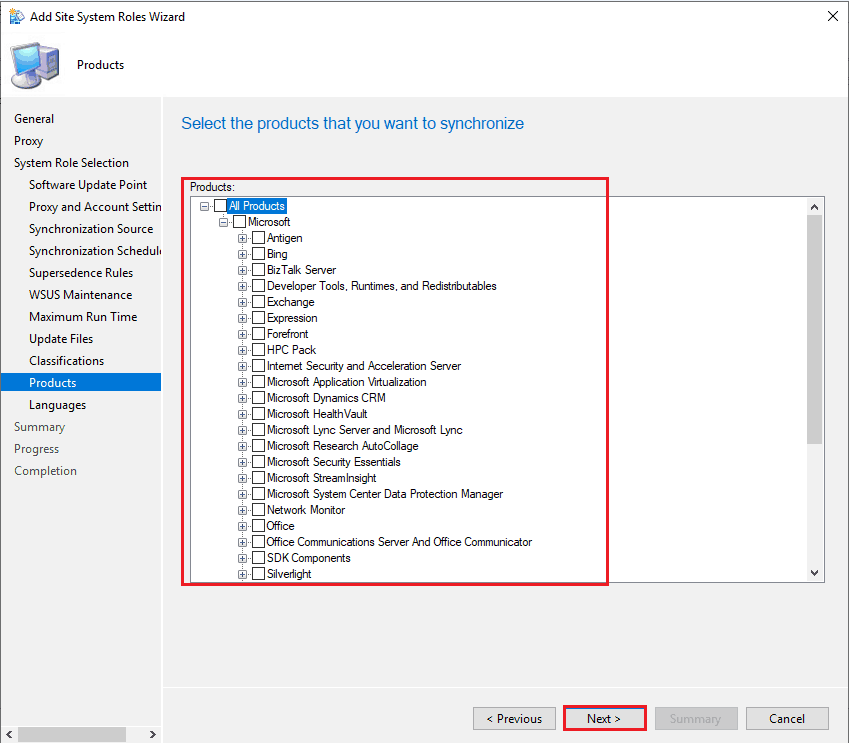 Select the products that you want to synchronize - New SCCM Remote SUP Installation Options
