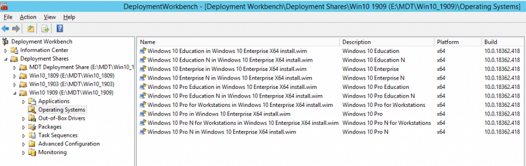 Select Windows 10 Version - Enterprise