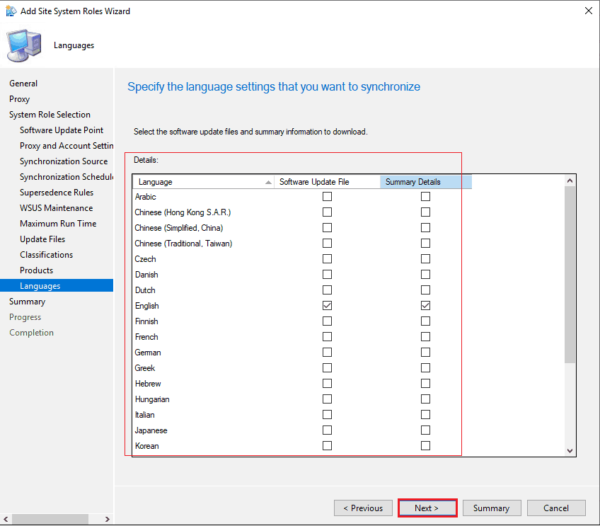 Specify the Language settings that you want to synchronize - New ConfigMgr Software Update Role