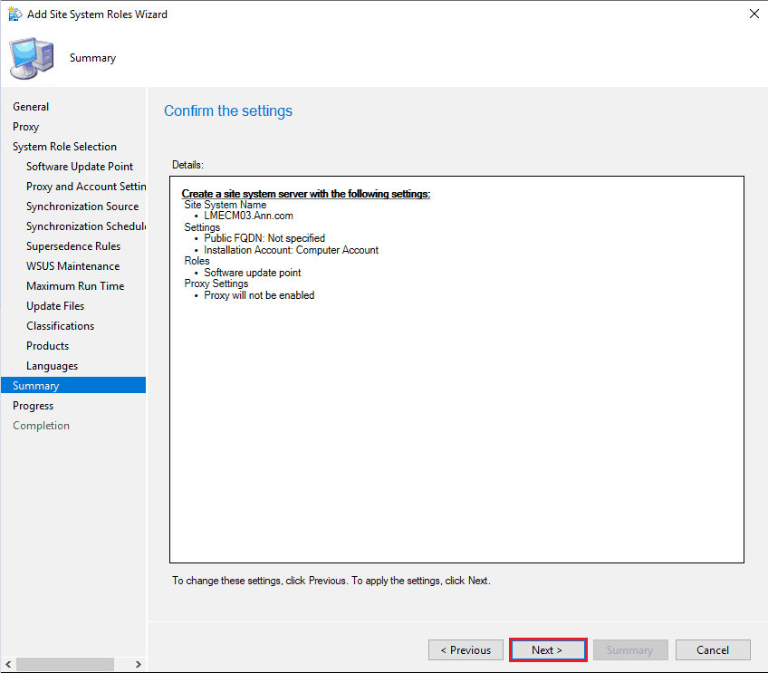 SUP Role Setup Confirm the Settings