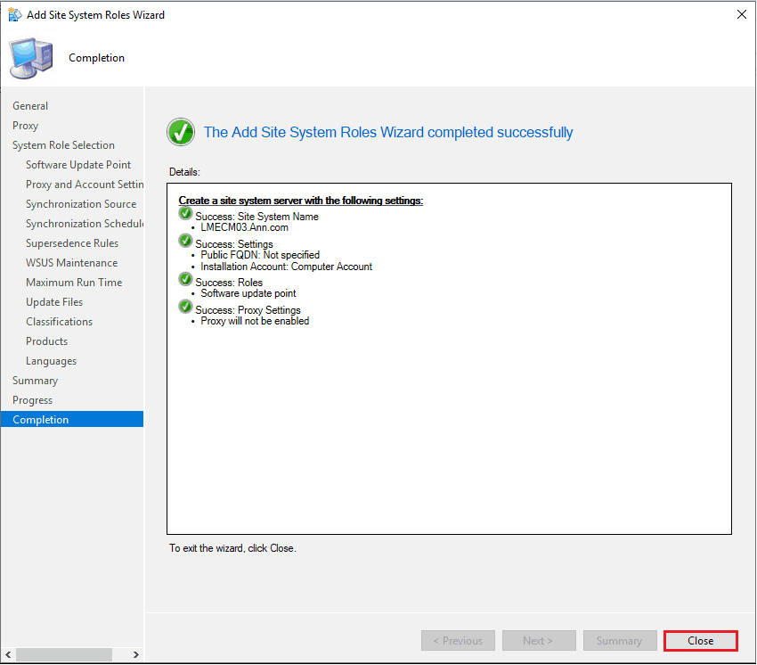 SCCM SUP Installation - The Add Site System Roles Wizard completed successfully