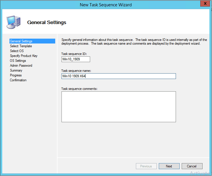 TS ID and Details - Image Creation Using MDT