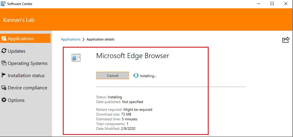 Software Center - Microsoft Edge