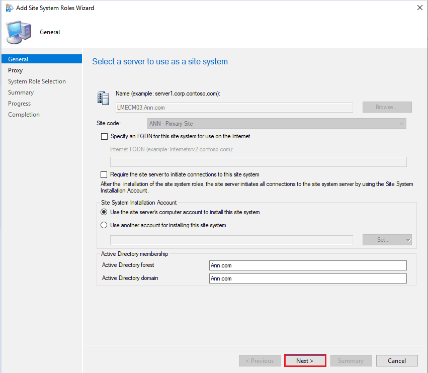 Select a Server to use as a site system -  guide is to setup Remote SUP role for SCCM