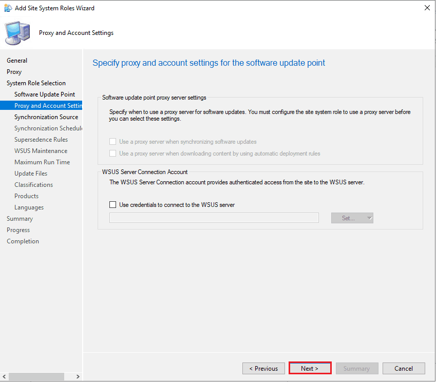 Specify proxy and account settings for software update point