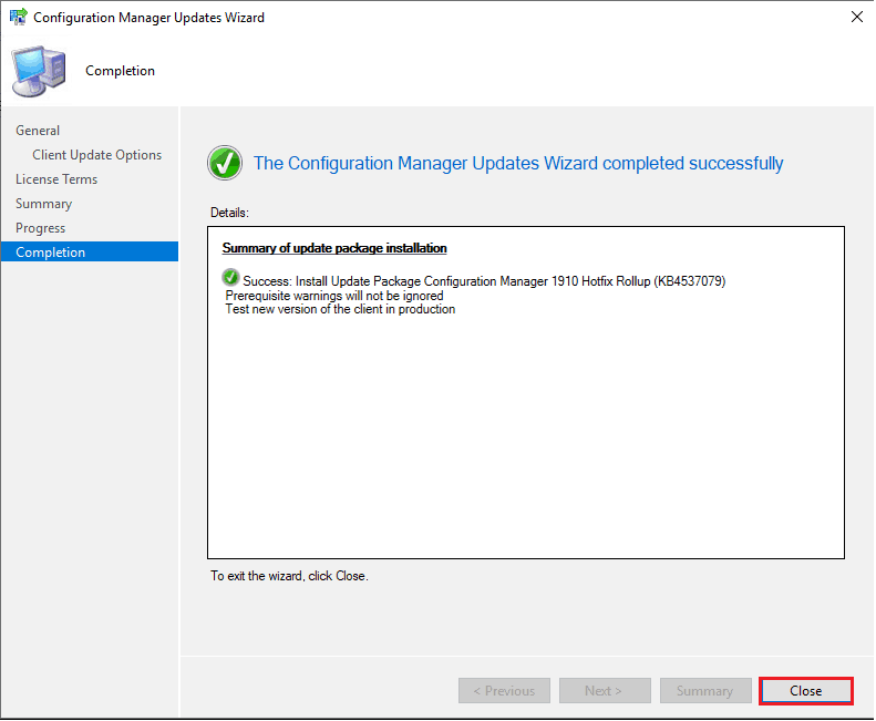 MECM 1910 Hotfix Rollup Update KB 4537079 Installation Guide 3