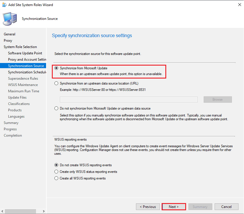 Specify Synchronization source settings - New ConfigMgr Software Update Role